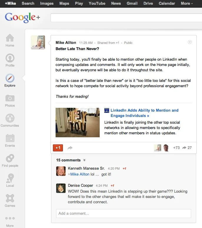 My post about LinkedIn went Hot on Google+