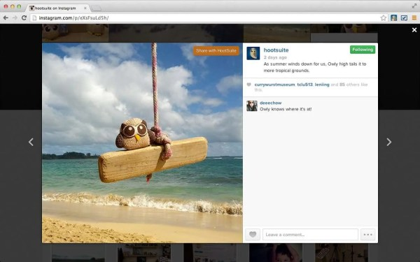 Share Instagram images using HootSuite.
