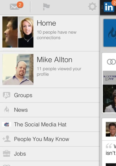 New LinkedIn Personalized Sliding Menu