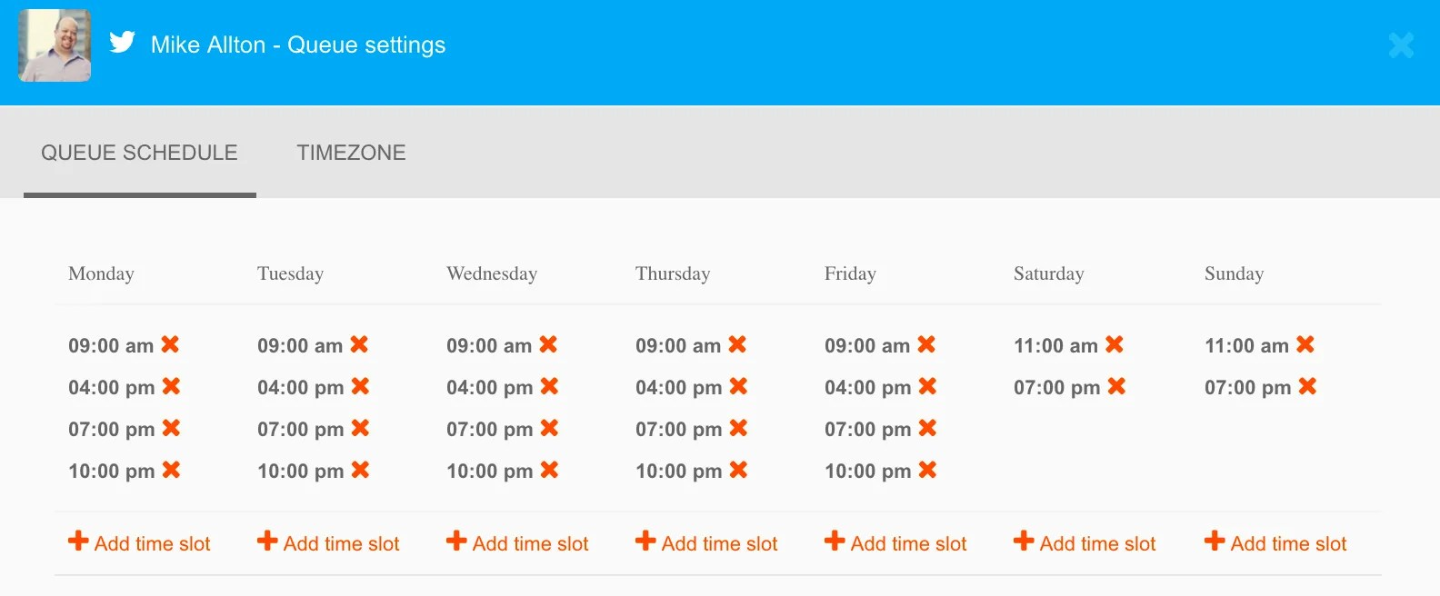 specify specific time-slots for each weekday