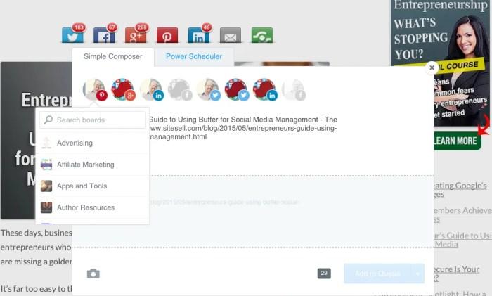 Buffer's Extension for Social Media Management