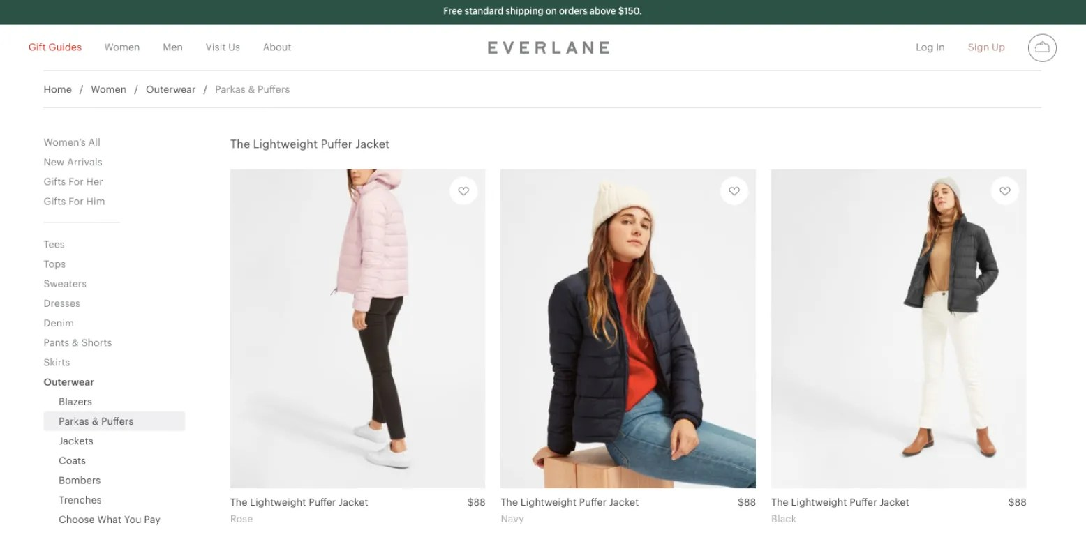 eCommerce Header Example