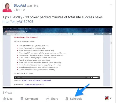 Use AgoraPulse to schedule Facebook shares, particularly if they're videos.