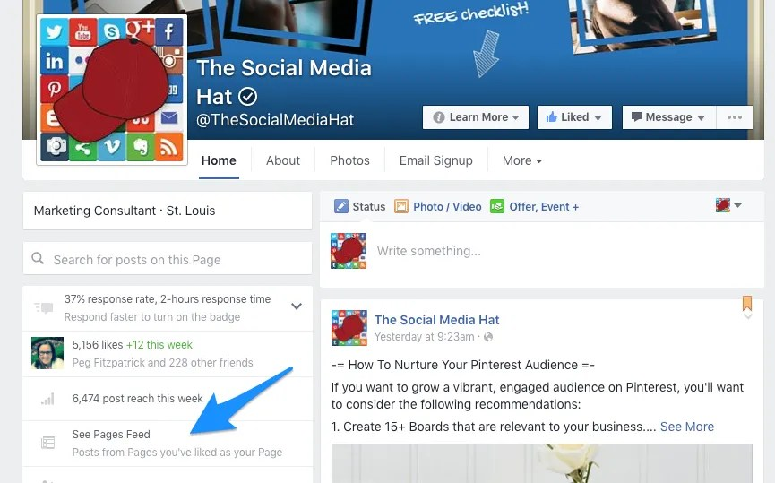 Use your Facebook Pages Feed to monitor and select posts to share from Pages you follow.