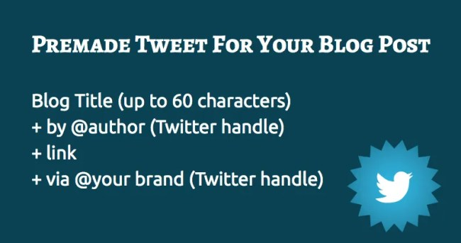 Premade Tweet For Your Blog Post