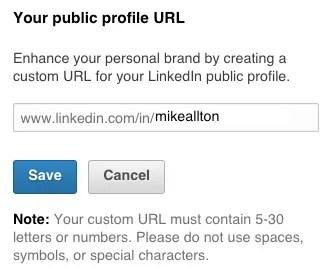 Create a custom URL for your LinkedIn Profile.