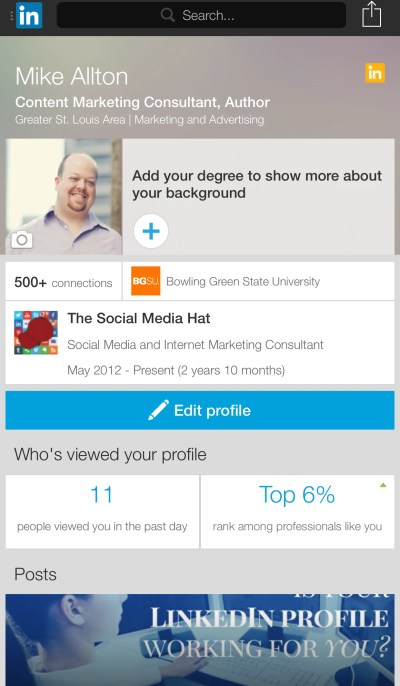 Check your profile within the mobile LinkedIn app.