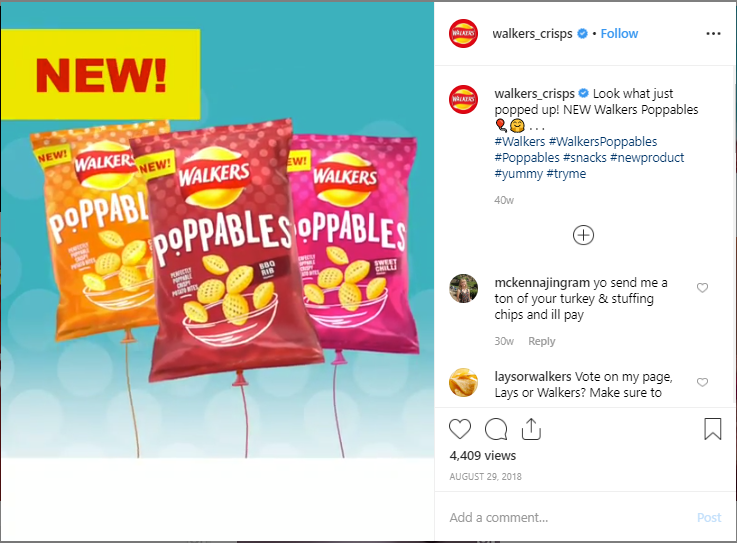 Walkers Crips used a unique hashtag on Instagram.