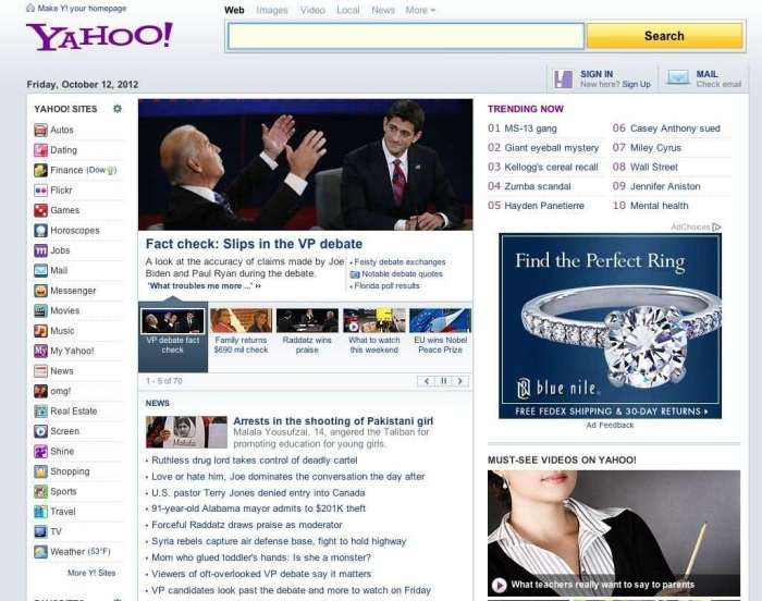 Yahoo! Current Homepage