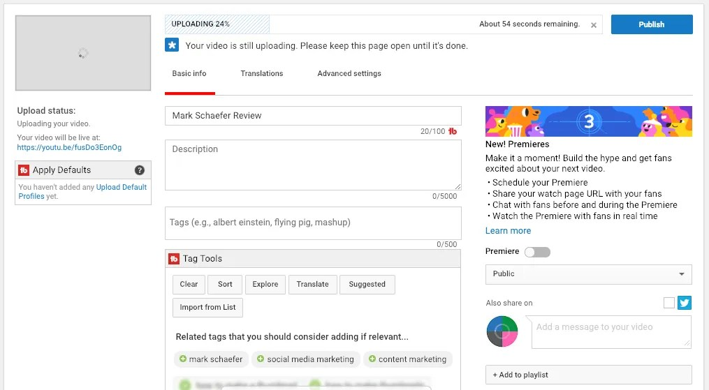 download the video file and upload it to YouTube