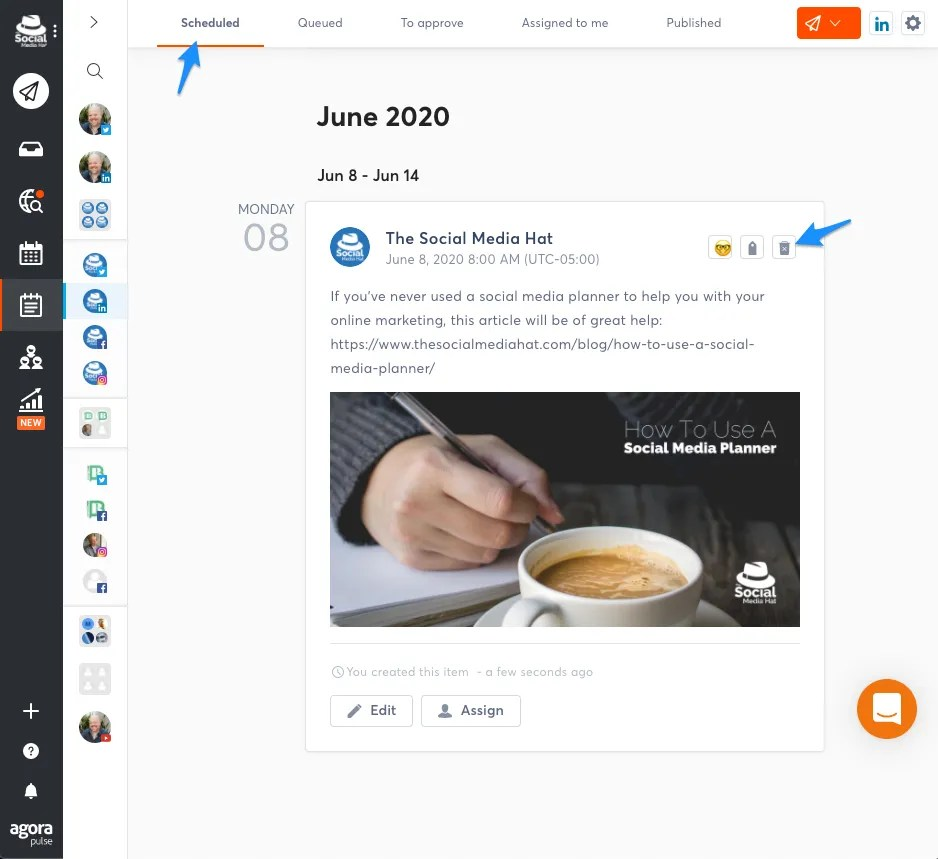 Deleting scheduled social media posts in Agorapulse.