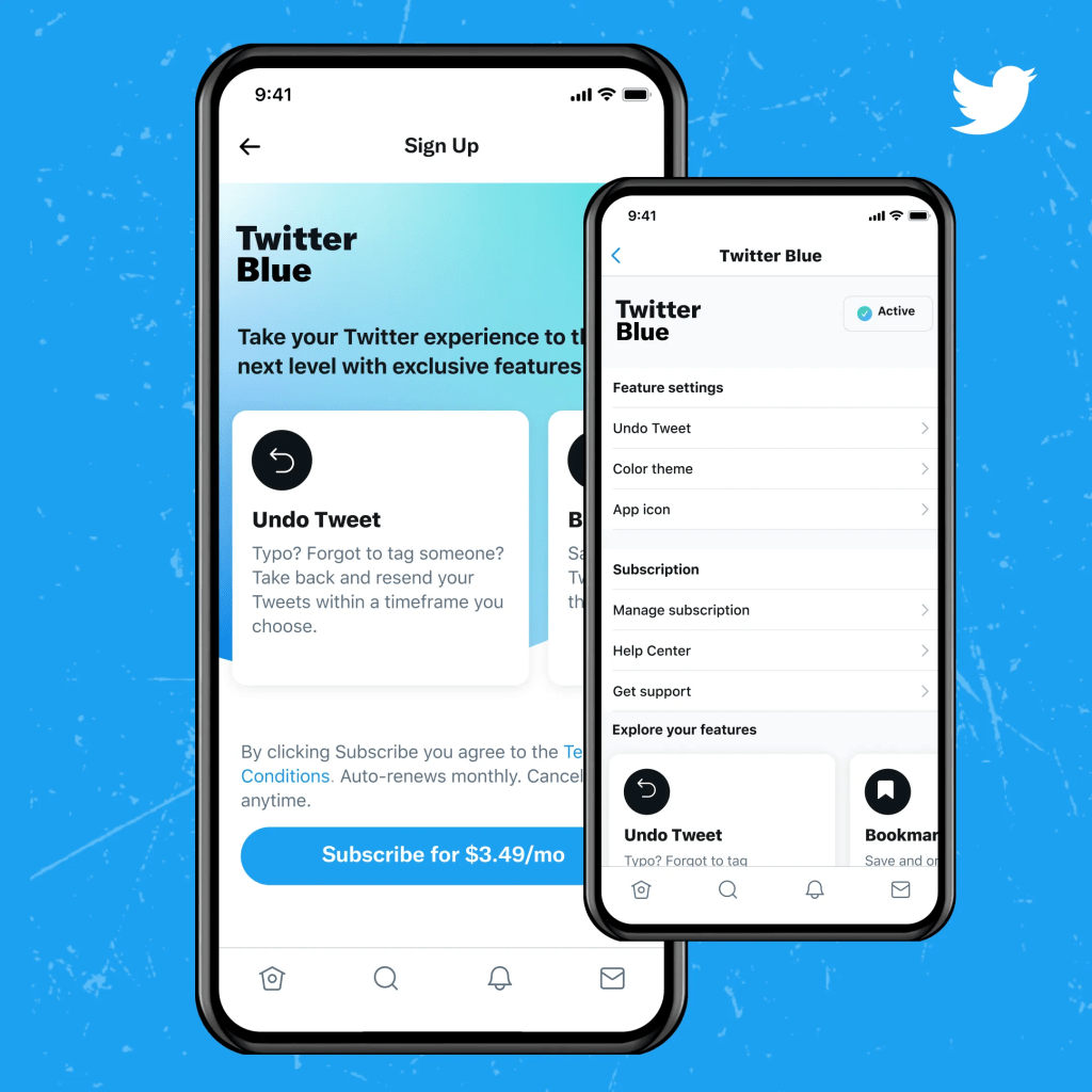 Twitter's new subscription service offering exclusive features is called Twitter Blue.