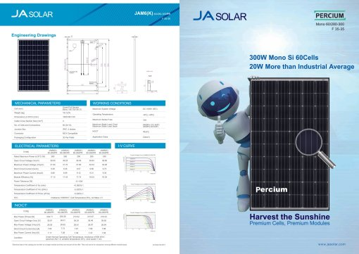 ja solar 300w percium data sheet