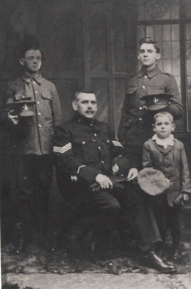 Daniel Thompson with sons William, Thomas and Jack