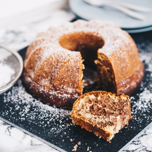 Veganer Dinkel-Marmorkuchen ohne Zucker, vegan backen mit gesunden Zutaten