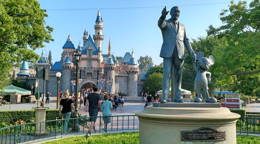 Disneyland Partners Statue and Castle