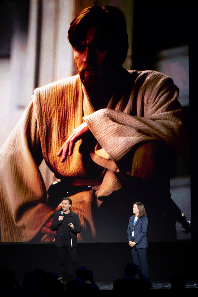 Ewan Mcgregor and Kathleen Kennedy announces the upcoming Obi-Wan Kenobi project at the D23 Sneak Peak at the 2019 D23 Expo.