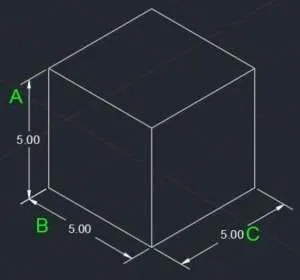 isometric drawing with dimensins
