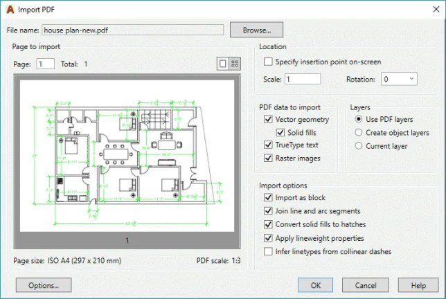 import pdf in autocad