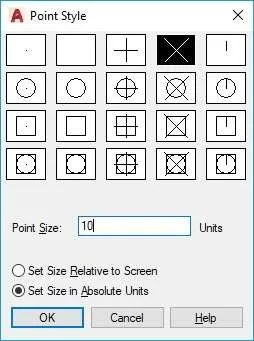 Point style in AutoCAD