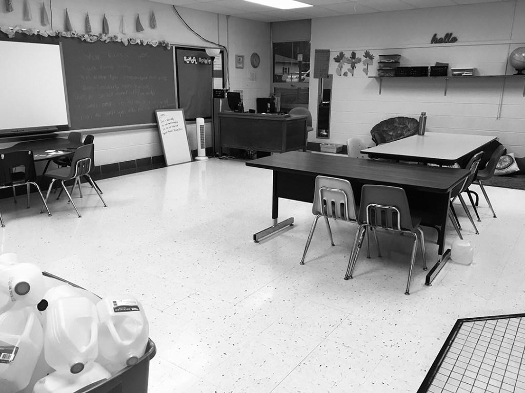 A classroom with desks.