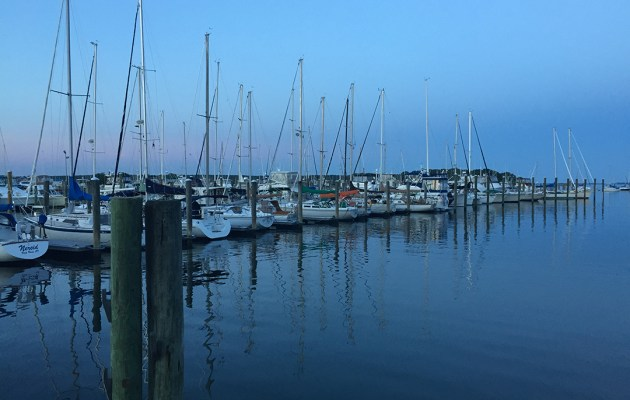 The ocean in Mystic, Connecticut and boats.
