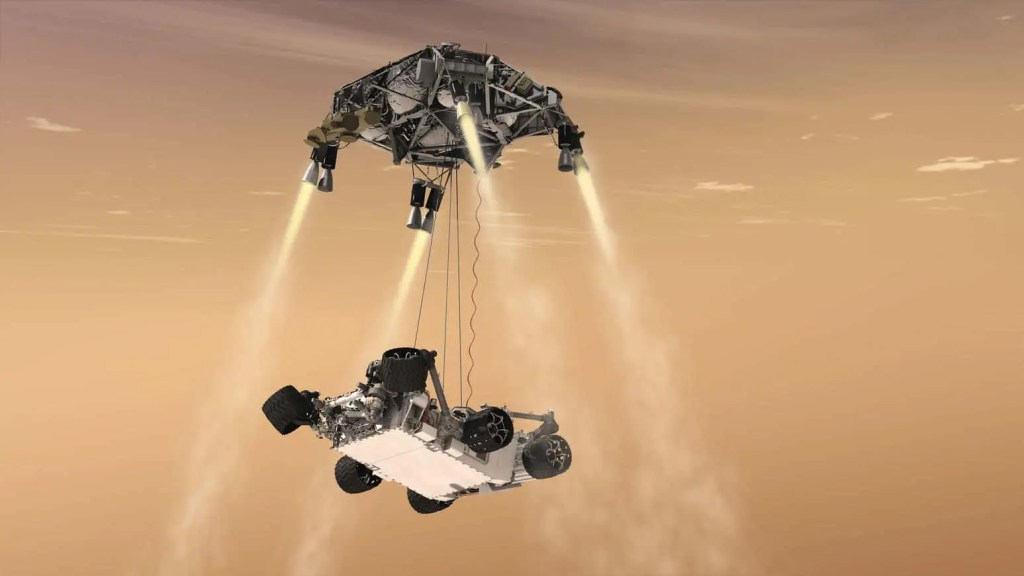Mars rover Perseverance sky-crane