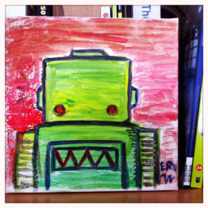 Green Robot water colour on canvas January 2014