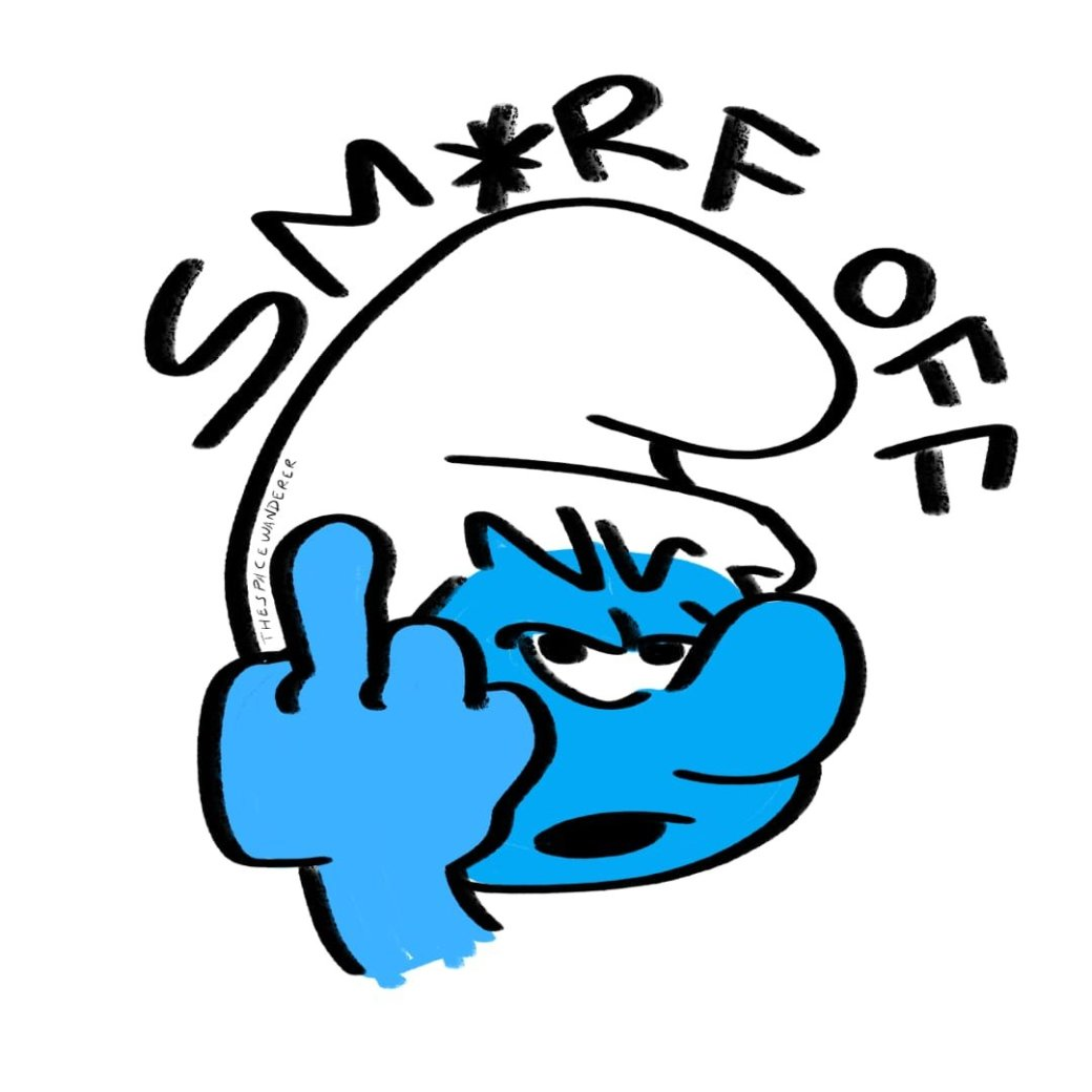 Smurf flipping middle finger