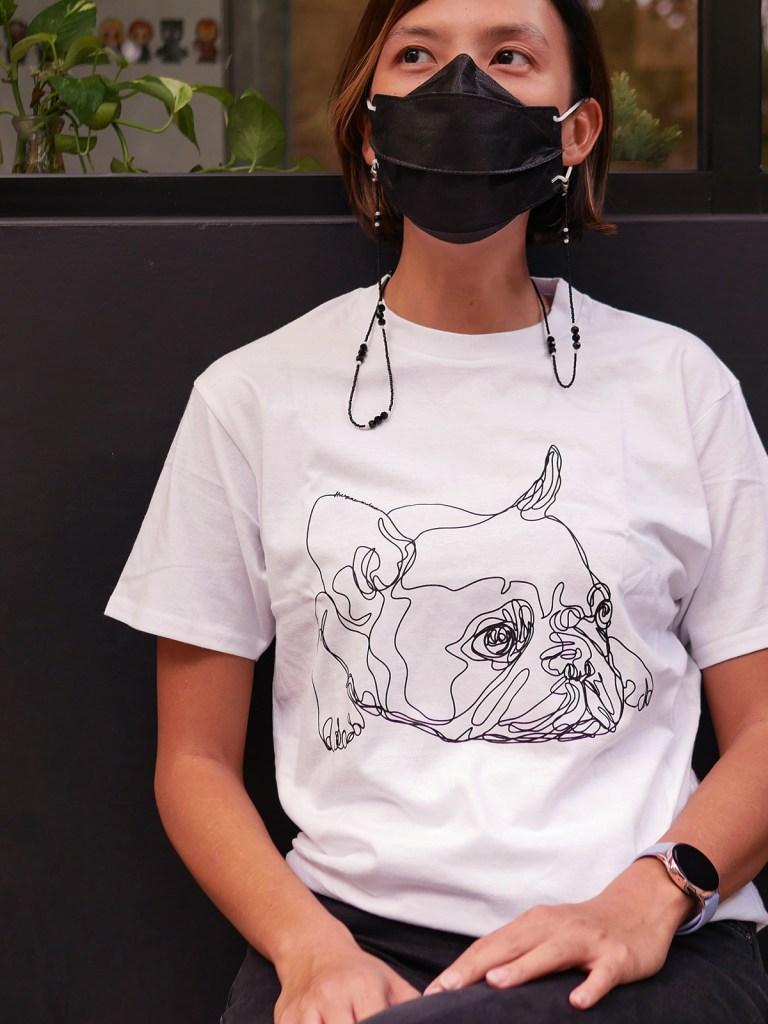french bulldog jakarta - one line art