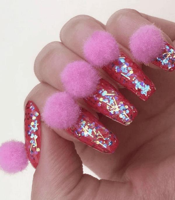 Red Glitter Pom Pom Nails