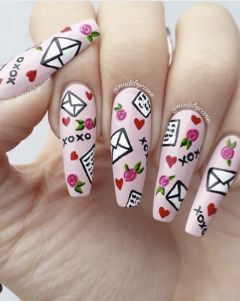 Pale Pink Love Notes Nail Design