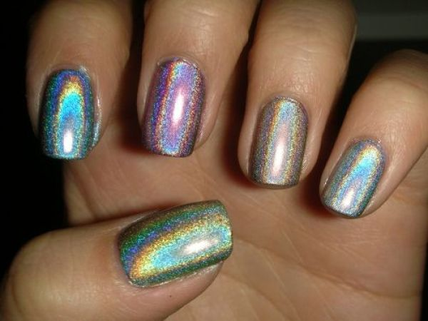 Metallic Rainbow Nails