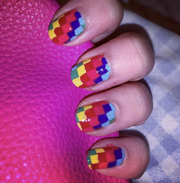 Geometric Rainbow Nails