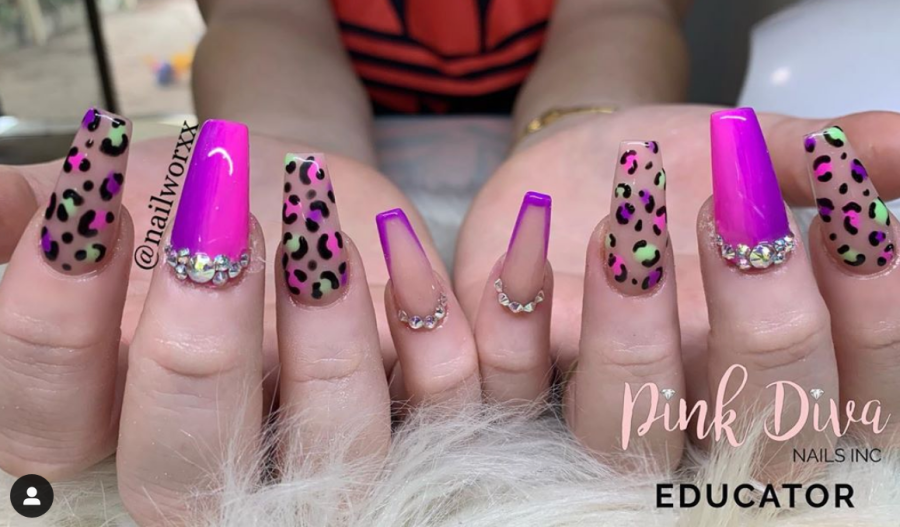Colorful Leopard Print Nail Designs