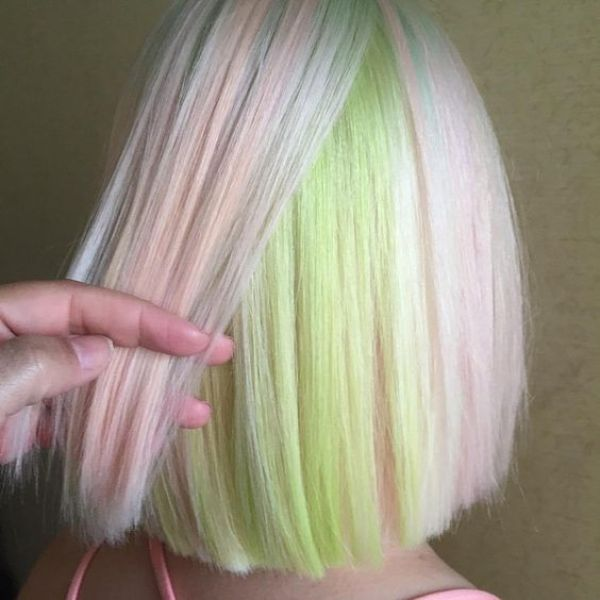 Pastel Green and Pink Hair