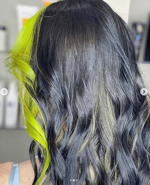 Neon green front hair style