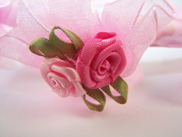 Girls flower girl white or pink head band-445
