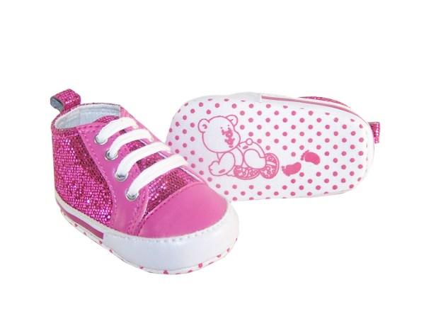 Baby dark pink sparkly trainers-877