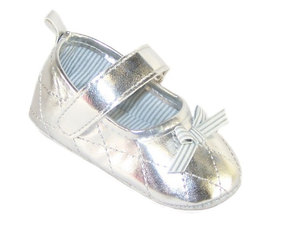Baby silver metallic party shoes-0