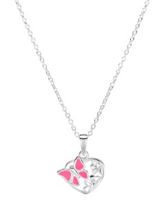 Girls sterling silver pink butterfly heart necklace