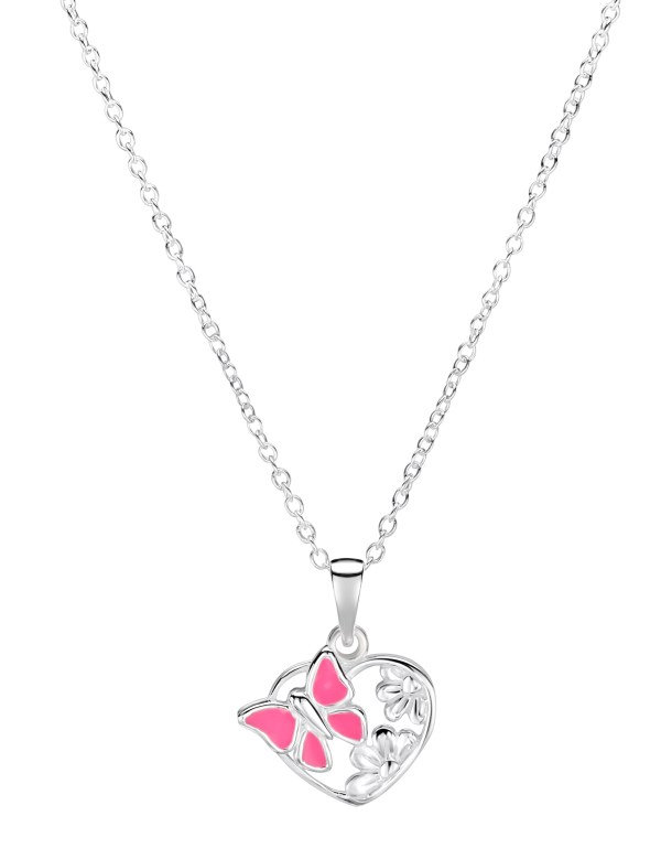 Girls sterling silver pink butterfly heart necklace-0