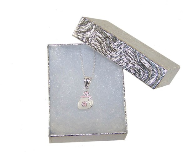 Girls silver necklace with handbag pendant-1468