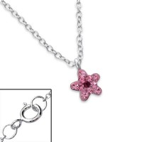 Girls silver crystal flower necklace-0