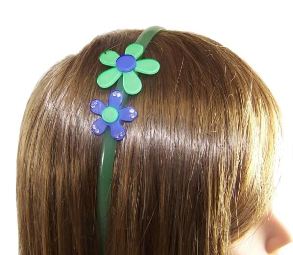 Girls green flower headband