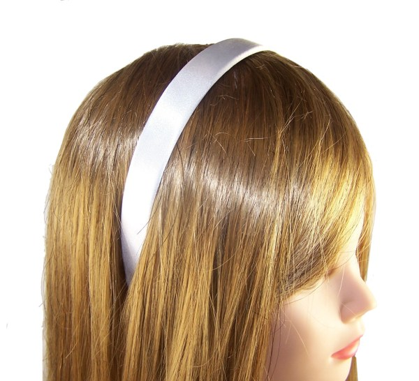 Girls wide white satin alice band