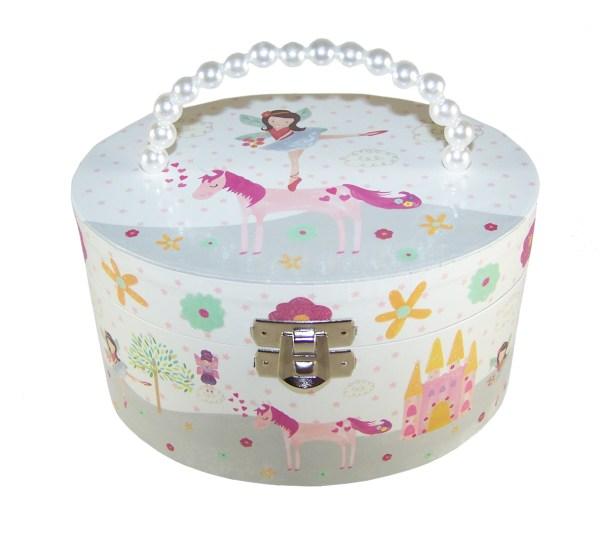 Girls musical oval unicorn jewellery box-2701