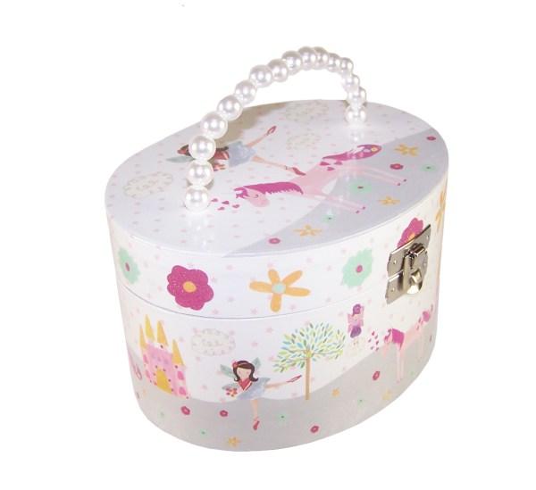 Girls musical oval unicorn jewellery box-0