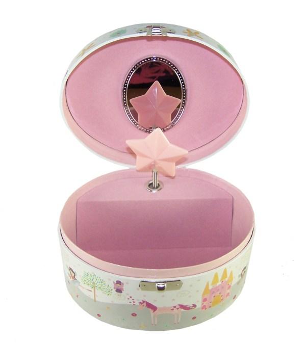Girls musical oval unicorn jewellery box-2699
