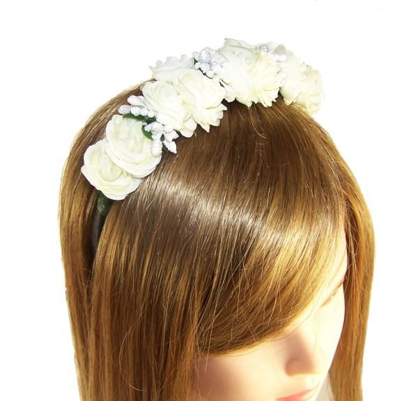 Girls ivory flower headband-2616